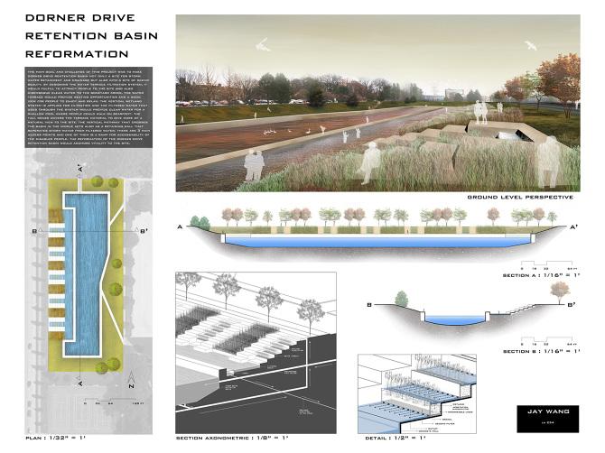 dorner drive retention pond reformation tawab hlimi design portfolio. Black Bedroom Furniture Sets. Home Design Ideas