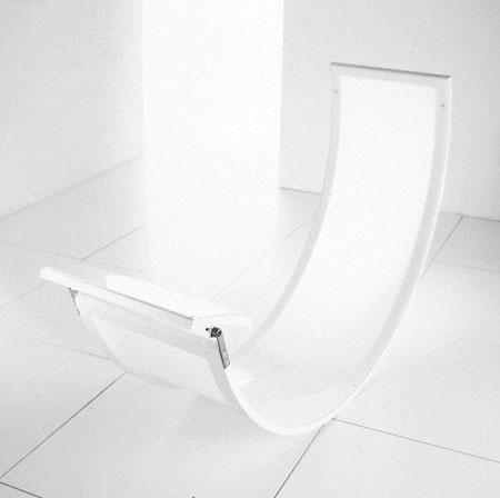 Rocking chair acier inoxydable poli miroir cuir zedset for Acier poli miroir